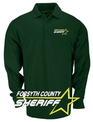 Long sleeve pro polo custom embroidered star sheriff for Embroidered police polo shirts