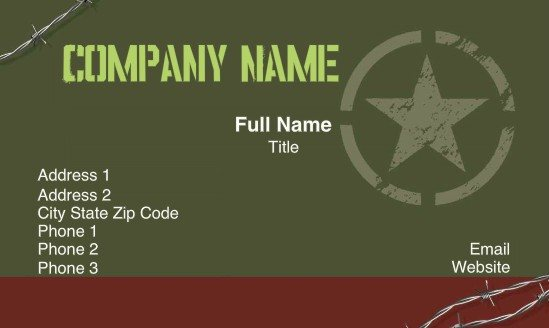 Full Color Professional Military Business Cards Teamlogo
