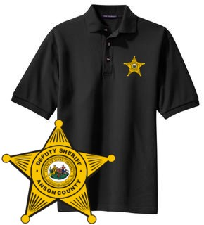 Custom imprinted police badge pique knit sports shirt for Embroidered police polo shirts