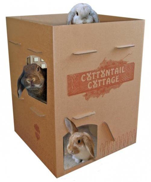Как сделать домик из коробки для кроликов своими руками 21
